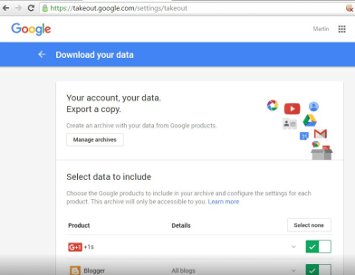 How to select and download your personal data from Google